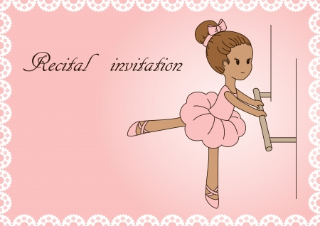 recital: Recital invitation. Pink lace background with little ballerina Illustration