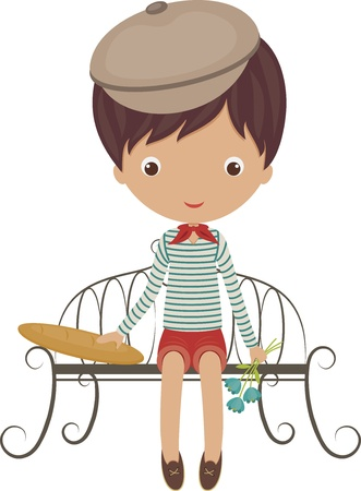 Little french boy sitting on a bench with baguette and flowers Vector