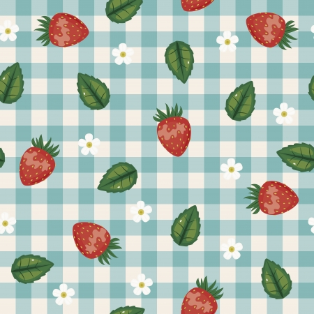 Seamless checked background with strawberries