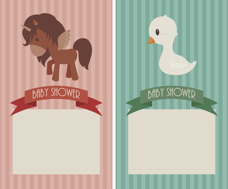 Baby shower cards. Pink with baby unicorn and blue with a baby goose Vector