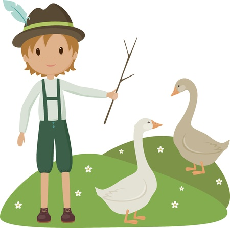 herder: Little herder with two goose Illustration