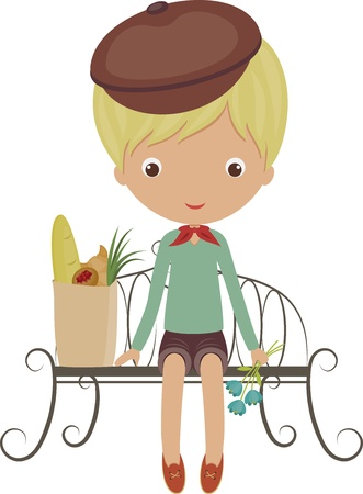 French boy sitting on a bench with a packet from grocery store and flowers Ilustrace
