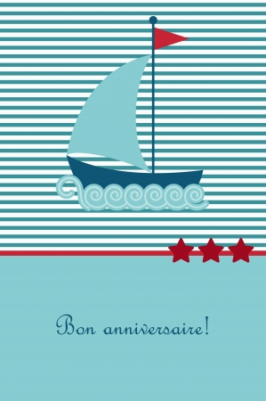greeting: Birthday card with boat Illustration