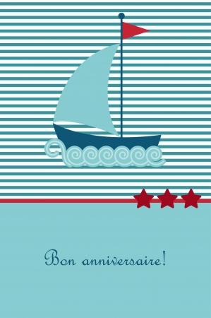 boyish: Birthday card with boat Illustration