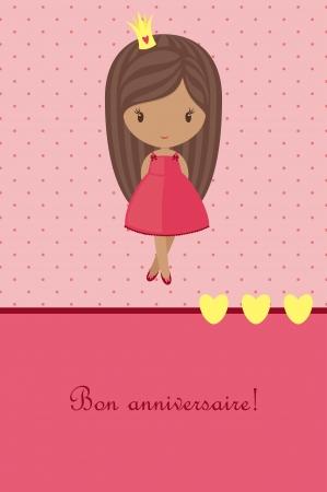 jolie petite fille: Carte d'anniversaire rose de princesse Illustration