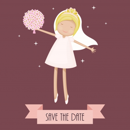 Funny cartoon bride dancing with flowers. Save the date card Stock Vector - 20321932