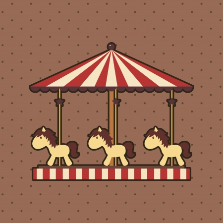 Carousel with ponies on dotted background,