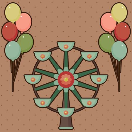 Ferris wheel card with balloons