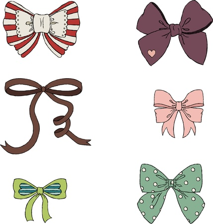 blue bow: Vintage bows hand drawn illustration  Isolated on white