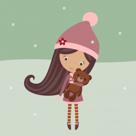 Cute girl in a winter outfit with her teddy bear outside Vector