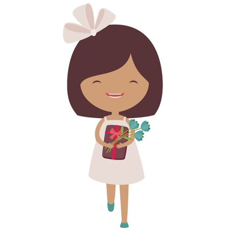 Happy running little girl with a gift and flowers Vector
