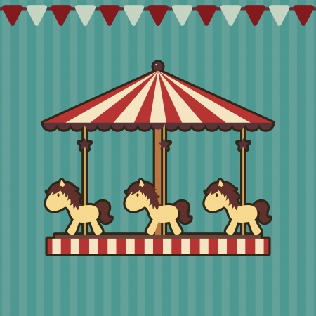 Carousel with ponies on striped background with flags