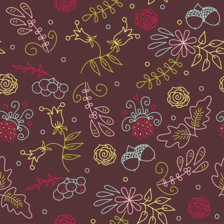Seamless floral hand drawn wallpaper Vector