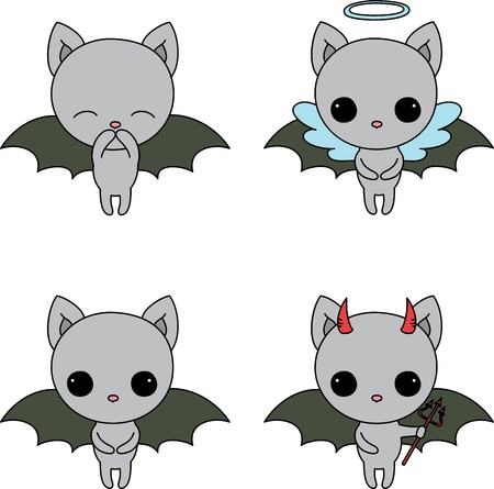 Four icons of little cute bat with different emotions Vector