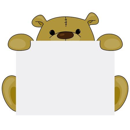 signboard: Cartoon teddy bear with blank signboard
