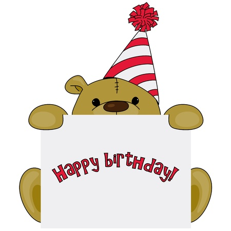 birthday hat: Cartoon bear in a birthday hat with greetings