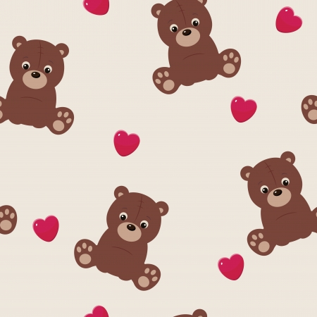 Seamless background with teddy bear and heart