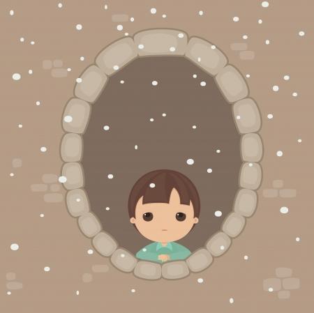 alone boy: Sad alone boy in the window