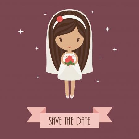 Romantic cartoon bride holding bouquet of roses   Wedding invitation Stock Vector - 20755230