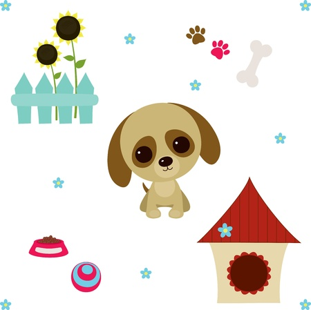 toy house: Dog life set  Vector illustration