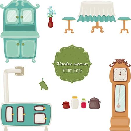 Kitchen interior retro icons