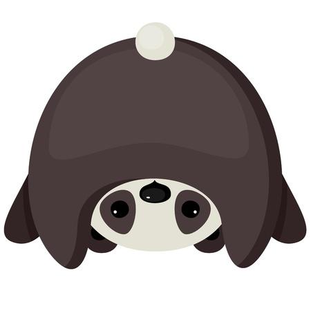 Upside down cute little panda