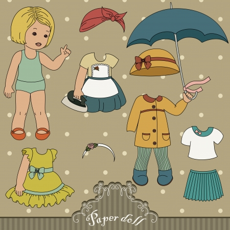 Vintage paper doll and her outfits Stock Illustratie
