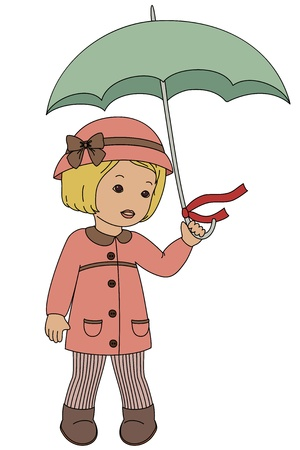 Retro little girl with umbrella, isolated on white