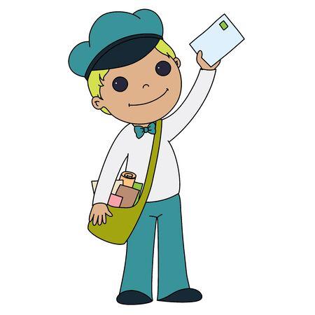post teen: Post boy. Cartoon illustration