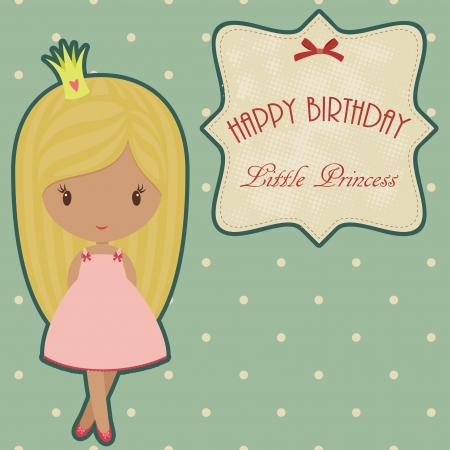 birthday card: Princess retro birthday card