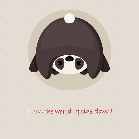 Cute card design with upside down panda Vector