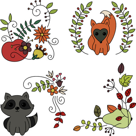 Hand drawn doodles. Baby animals and fruits