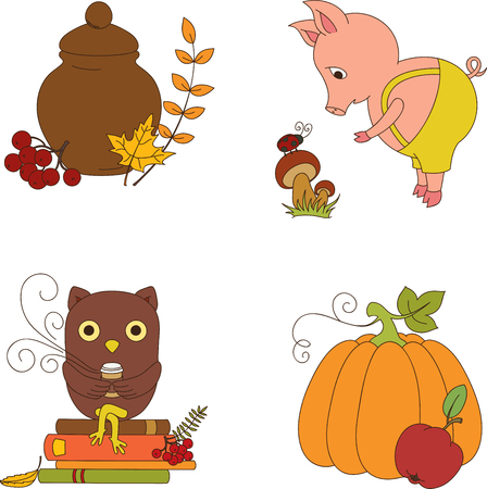 Autumn clip-art. Four isolated cartoon icons Vector