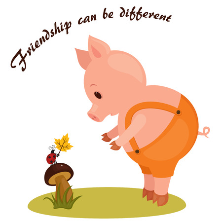 be different: Cartoon illustration of a pig and a ladybug. Friendship can be different.