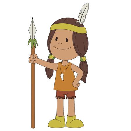 アメリカ ・ インディアン陽気な少年は、白で隔離