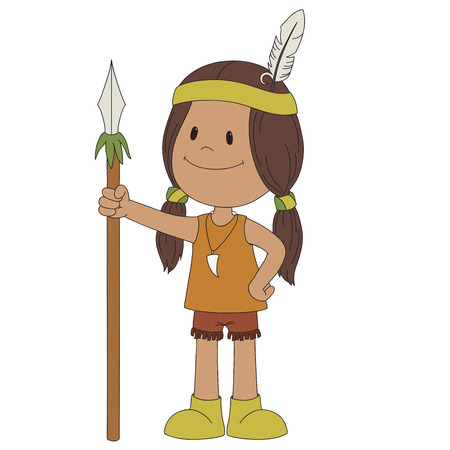 spearman: American indian cheerful boy, isolated on white Illustration