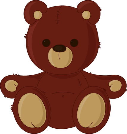 Brown teddy bear, isolated on white Vector