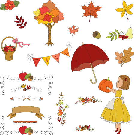 Autumn garden hand drawn clip-art. Borders, flowers, leaves, girl, umbrella, basket, banner. Vector