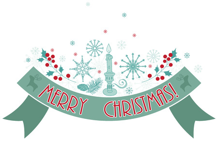 holly berry: Merry Christmas holiday banner. Greetings, snowflakes, holly berry, cone and candle. Isolated on white