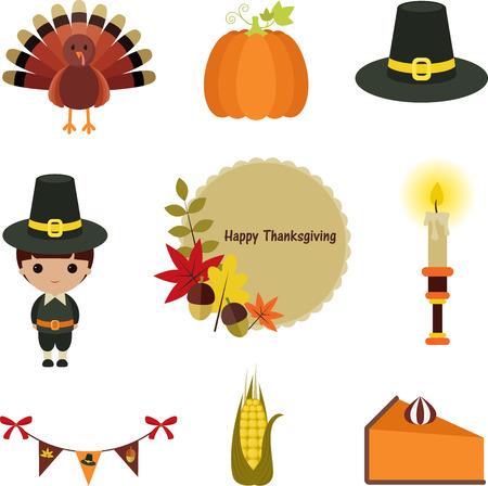 Set clip-art de Acción de Gracias. Nueve iconos de dibujos animados, aislados sobre fondo blanco. Foto de archivo - 22678740