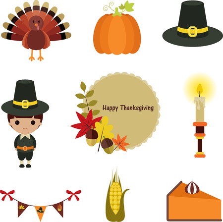 Thanksgiving clip-art set. Nine cartoon icons, isolated on white background.