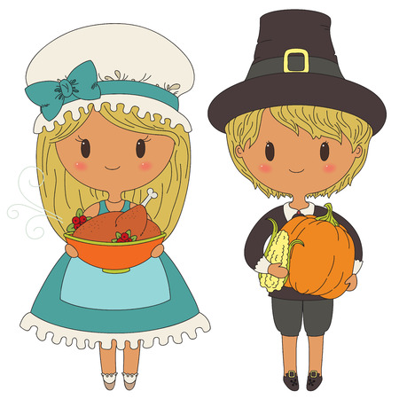 Illustration of cute pilgrims couple, isolated over white background Vector