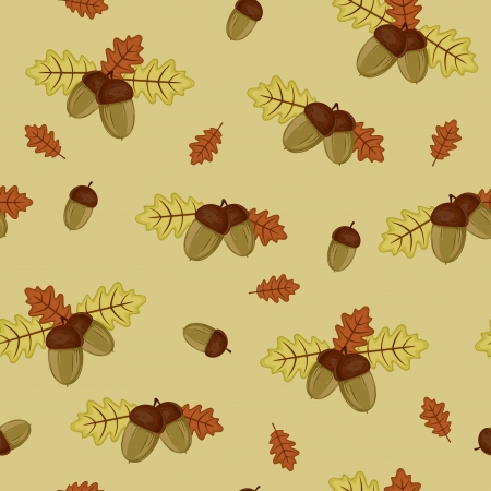 Acorns and autumn leaves seamless wallpaper Vector