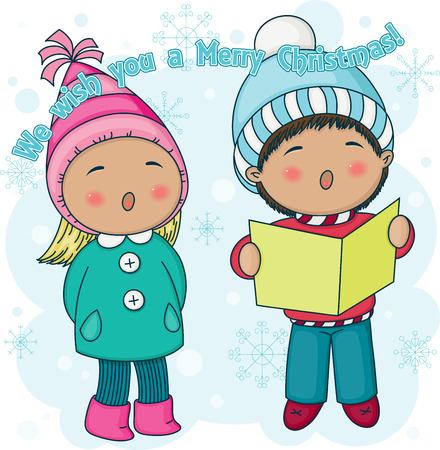 Little Christmas carolers singing outside. Nice cartoon illustration with greetings Vector