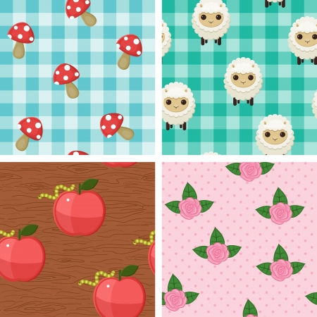 Four seamless childish wallpaper design. Cartoon animals and plants Vector