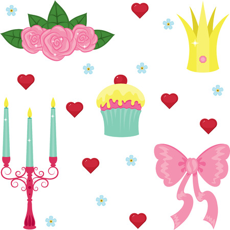Princess beautiful icons design, isolated on white Ilustracja