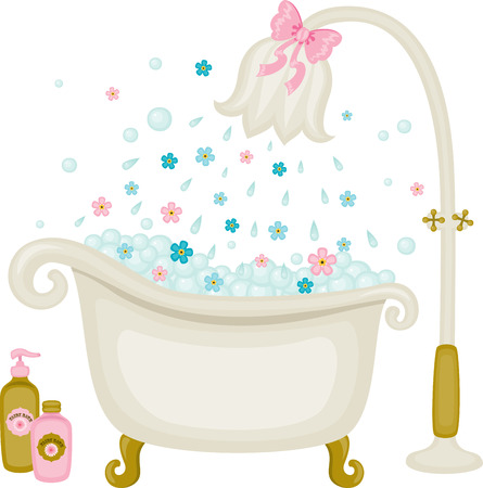 Vintage vector bath illustration. Bubbles with floral shower. Isolated on white 일러스트