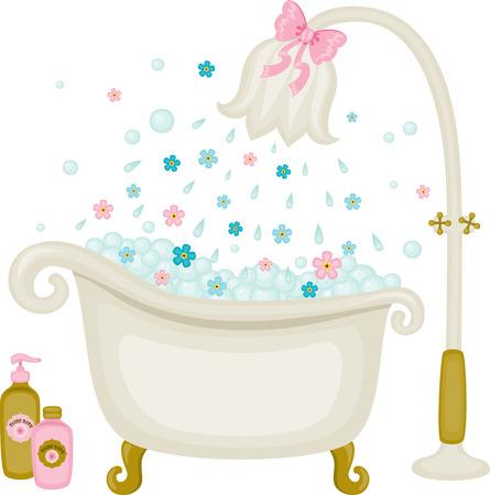Vintage vector bad illustratie. Bellen met bloemen douche. Geïsoleerd op wit