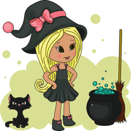 Cute little witch with her black kitten, poison and broom Vector