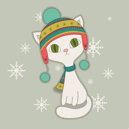 Winter cat in a nordic hat Vector